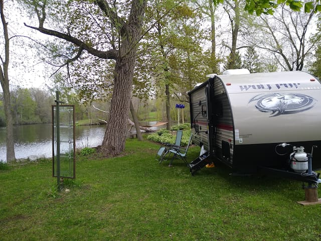 Private Waterfront RV near Road America