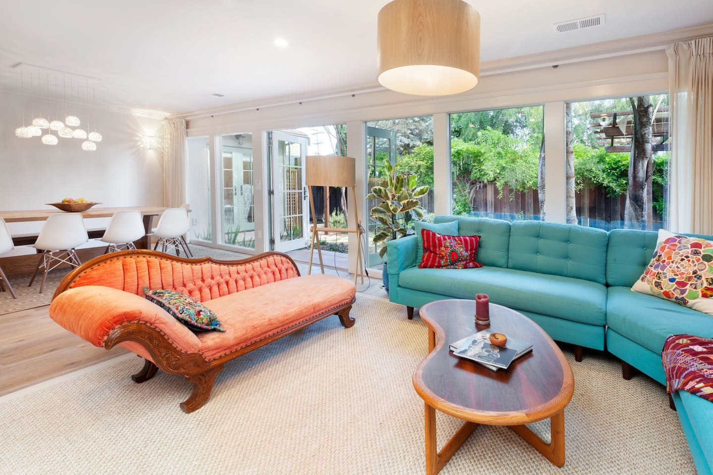 Bright, spacious living room, with sliding doors through to back yard