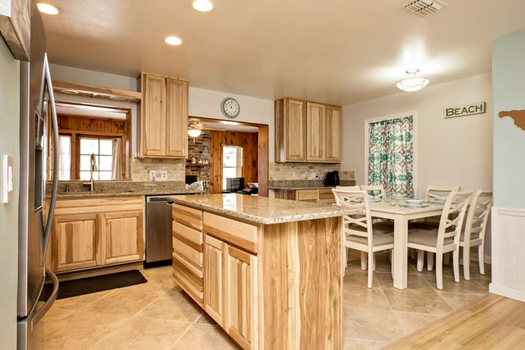 Easily entertain in this open kitchen and dining room.