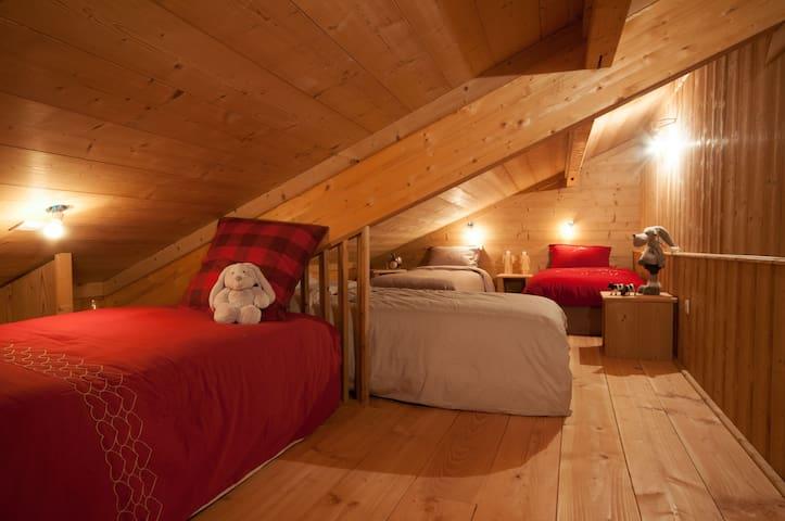 Cette chambre est une chambre dortoir qui accueille quatre lits simples ,c'est a cout sur le royaume des enfants .