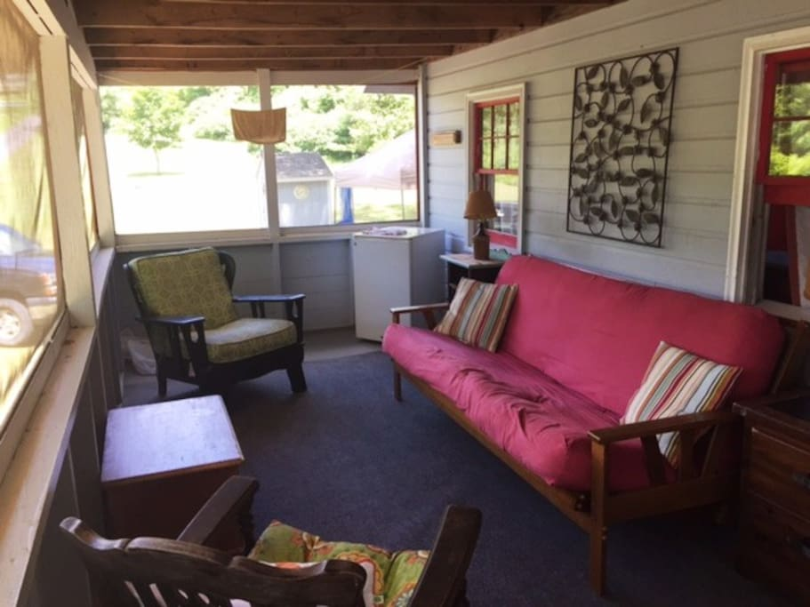 plenty of room to curl up with a book or chat with others on the front porch