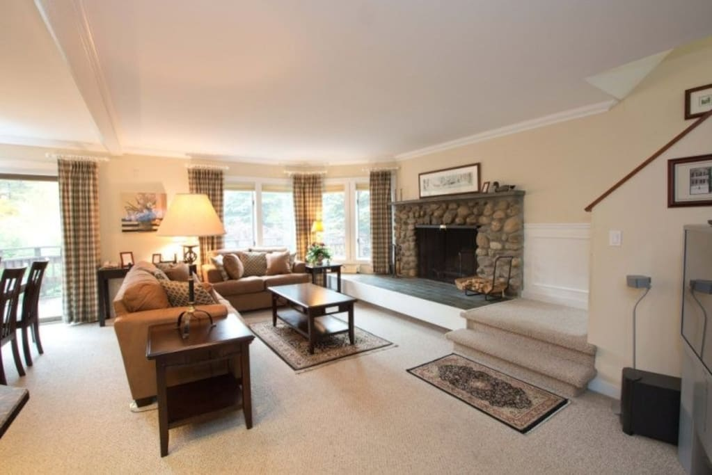Large screen TV and wood burning fireplace in living room