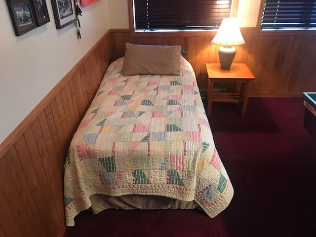 Twin bed in billiards room
