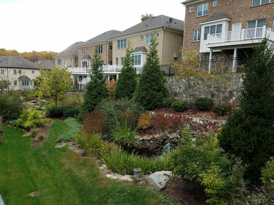 In our neighborhood, is a beautifully landscaped waterfall and garden.