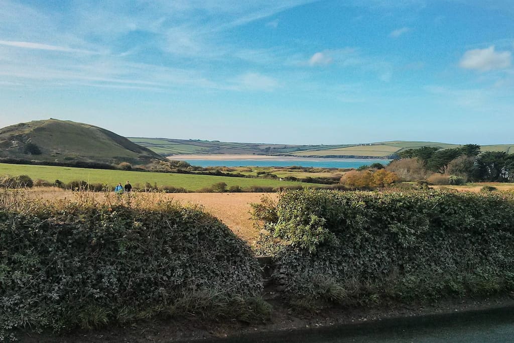 view of Daymer Bay from the end of the lane