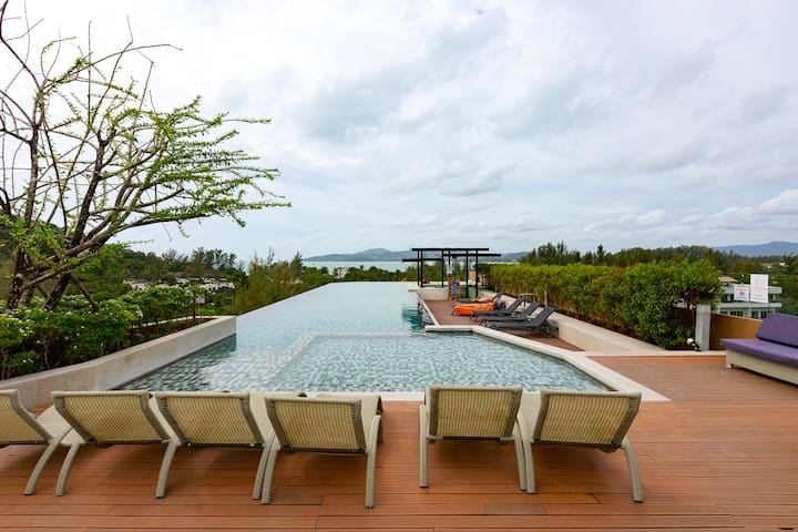 Stylish Family 2BR Apartments! Infinity pool on the roof ❤️ Surin (505C)