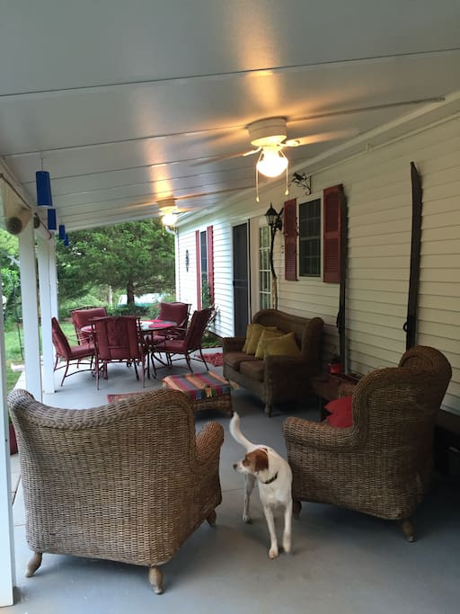 Patio-outside garage service door