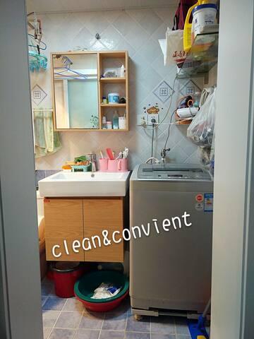 clean bathroom,u can use washing mchine and so on