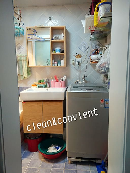 clean bathroom,u can use washing mchine and so on