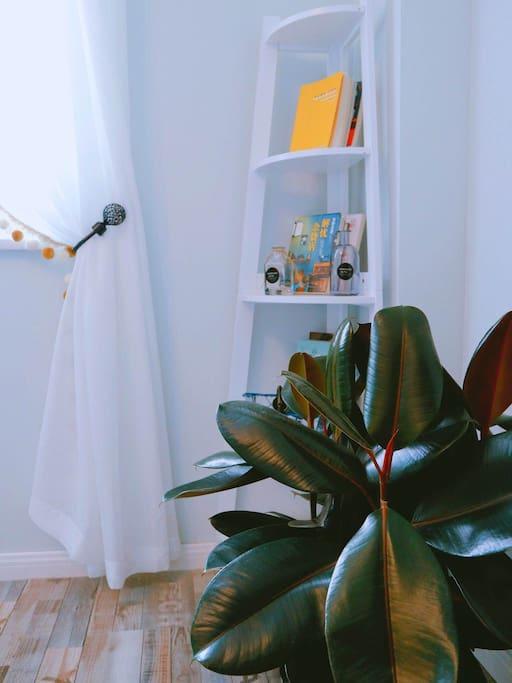 这是我们客厅电视背景墙的一角,小书架上面有精心准备的书,希望你会喜欢。