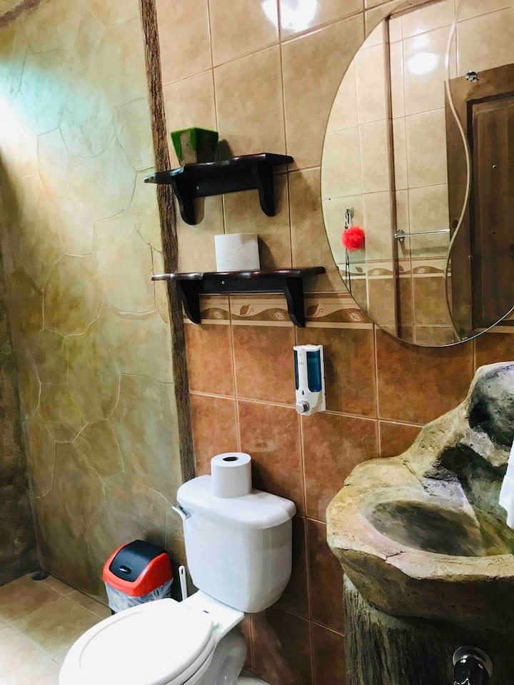 bathroom interior next to outside shower