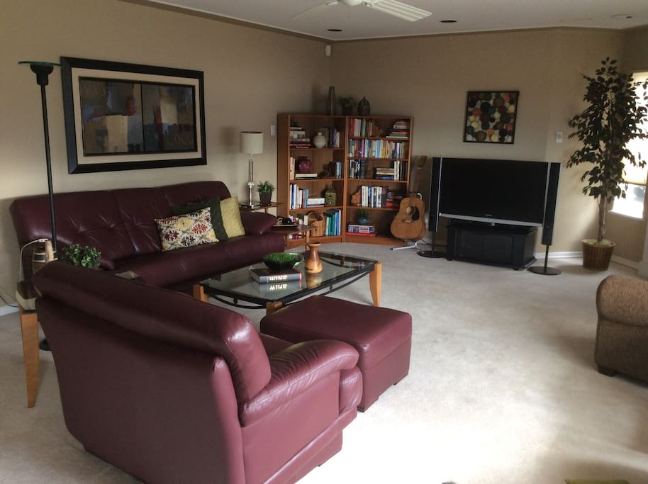 Relax, read a book or play guitar in the living area
