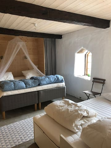 Bedroom 1. King size (180 cm) bed & queen size (160 cm) bed sofa