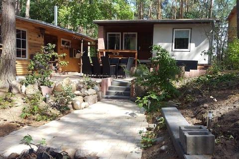 Chillma hytte - udendørs boblebad sauna skov