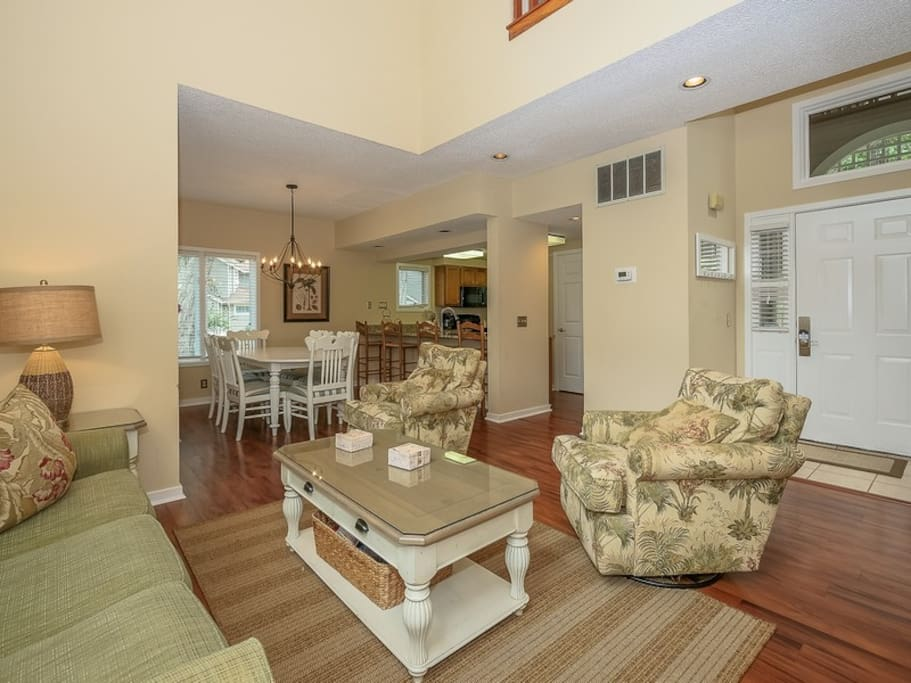 Living Room Opens to Kitchen and Dining Area at 7601 Huntington