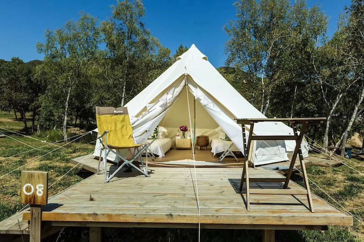 海坨山谷露营~帐篷营地 星空 尖顶帐篷