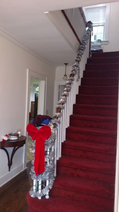 Carpeted stairs leading up to the bedroom and bathroom.
