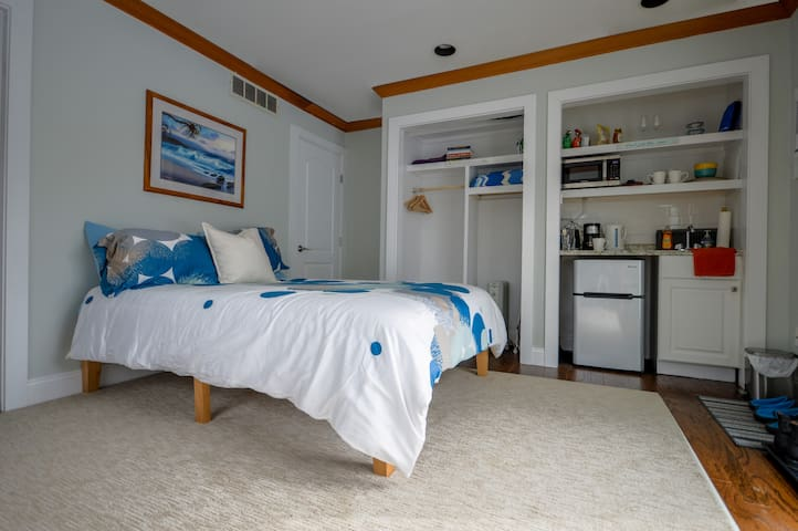 Newly renovated private apartment with plush Queens size platform bed, closet, kitchenette, air-conditioner, fan, and private bathroom with indoor jacuzzi and walk-in shower.