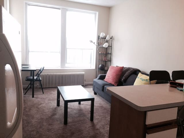 Spacious apartment by packard w queen bed +aerobed - Brookline - Apartment