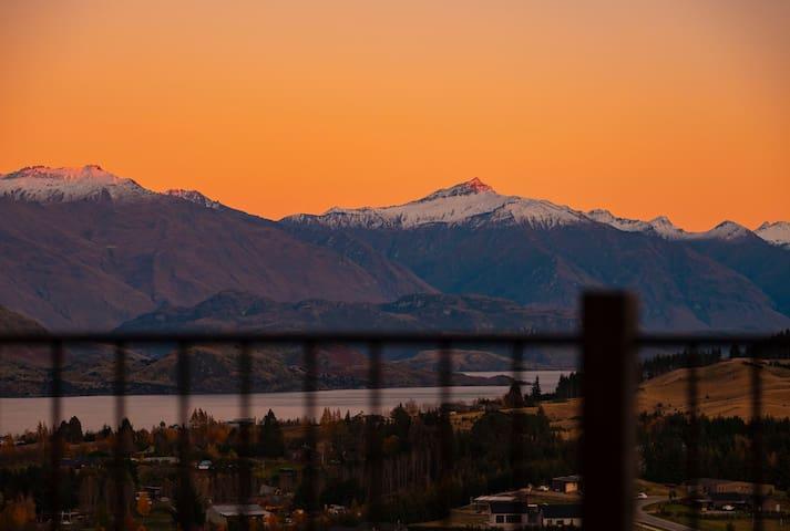 deck-view of Black Peak at sunrise!