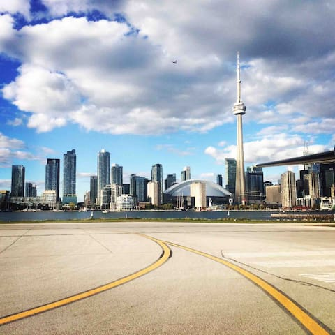 Toronto cityscape, view from Billy Bishop airport.