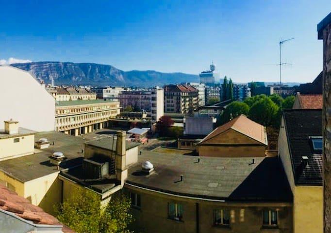 Chalet-style artists loft, center of Geneva