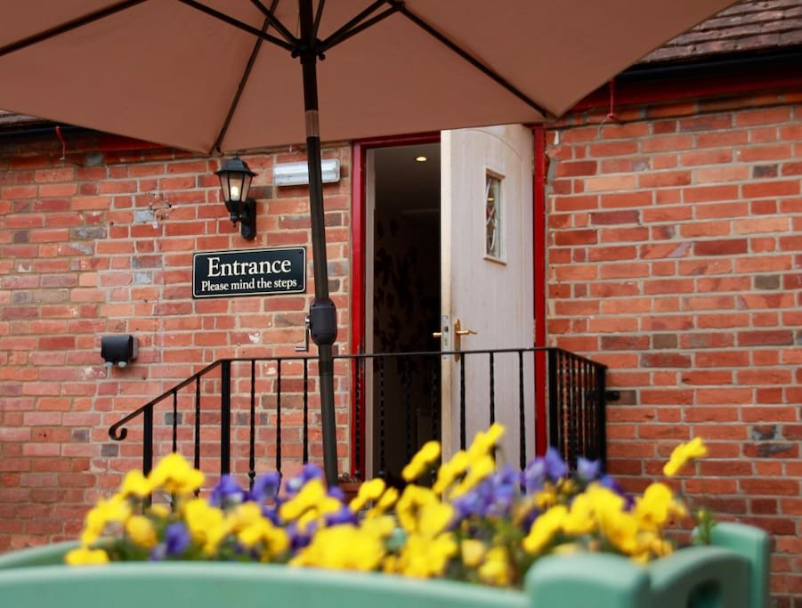 Our patio provides a sunny alfresco dining area in the summer months