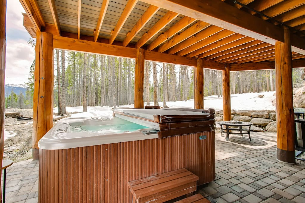 A private hot tub awaits right outside