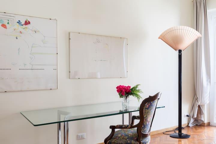 desk in the main room