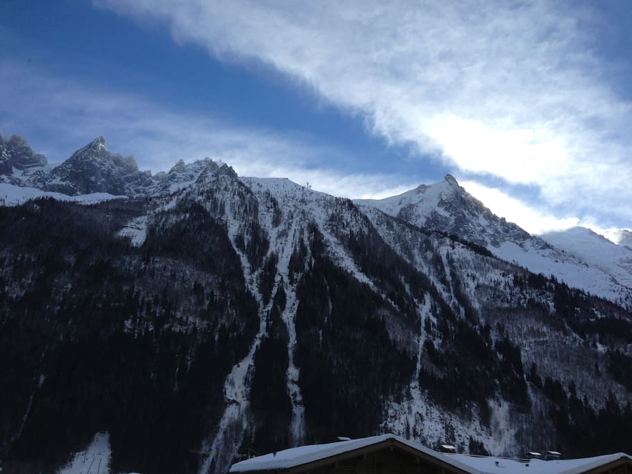 View from the flat. Aiguilles du Midi and Aiguilles de Chamonix