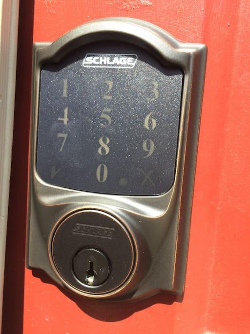 Keypad lock for anytime arrival.