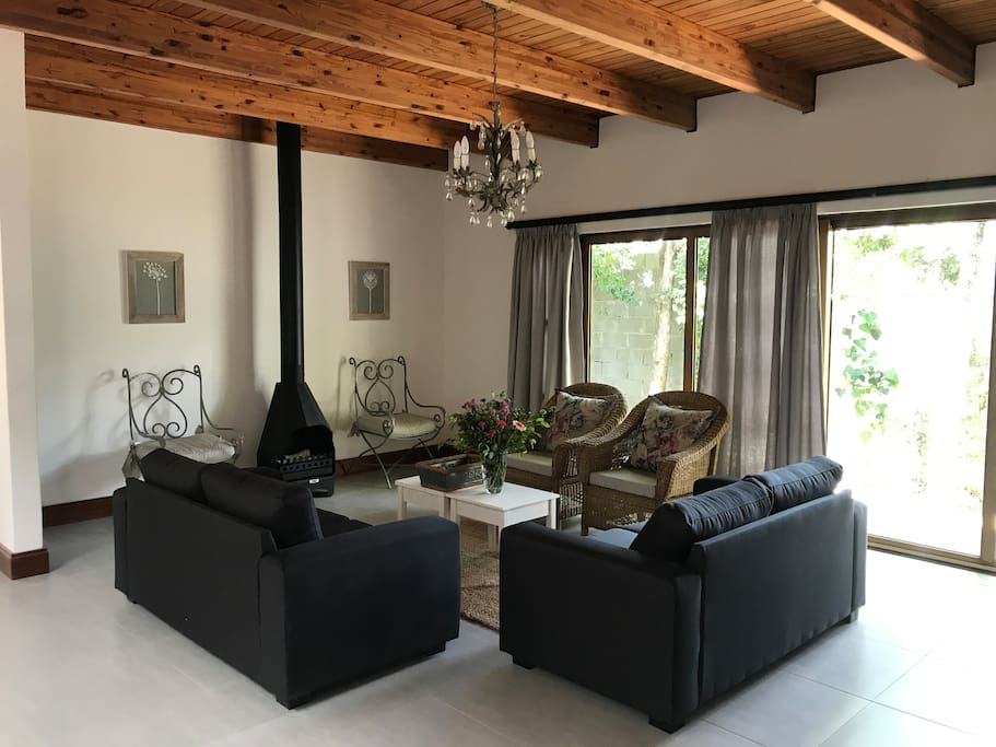 Living room with fire place and DSTV