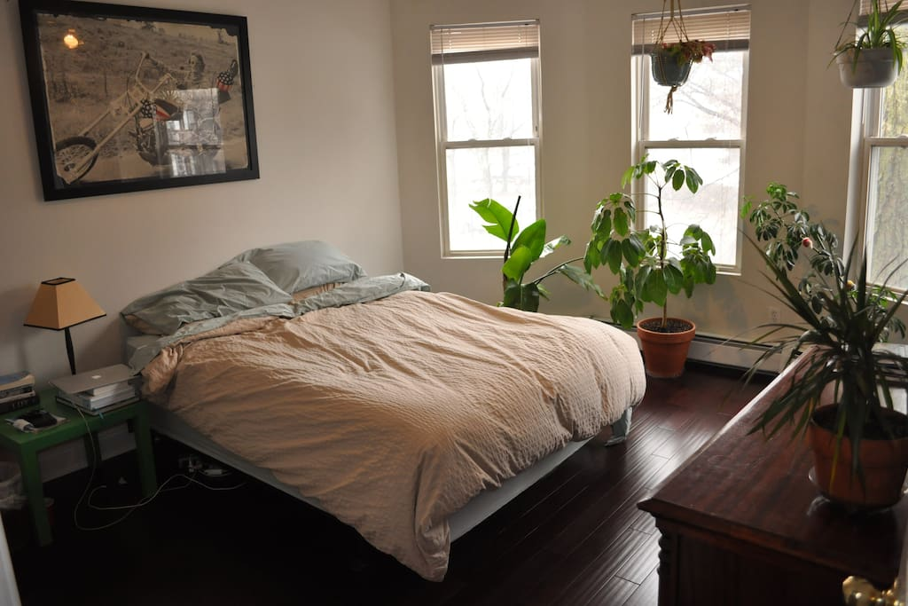 Large bedrooms, 2 with queen beds, 2 with double beds. Dressers and closets are also free to use.