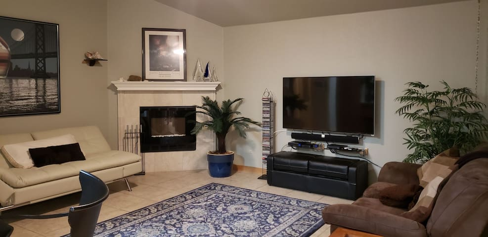 Electric fireplace & Smart TV w/ Google Fiber TV includes Netflix, UTube, Amazon Prime,HBO and 220 HD Channels