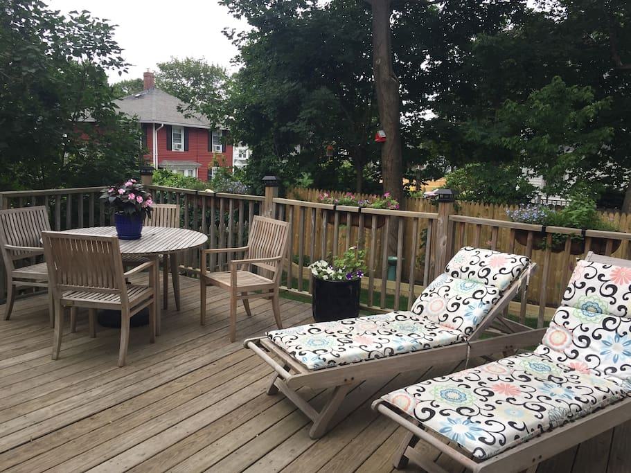Deck with gas grill. We have gates that you can use to fully enclose the deck, if needed.