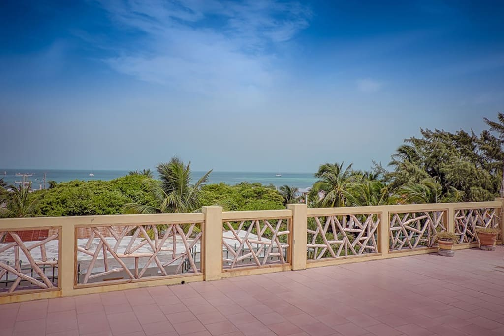 ocean view roof terrace where yoga lessons are held