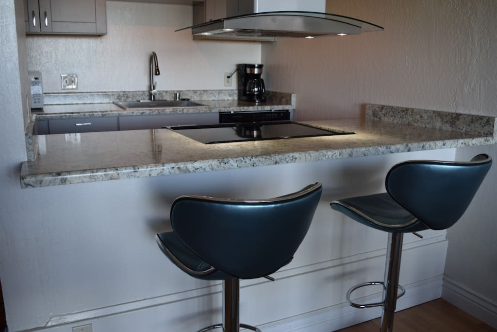 Completely remodeled kitchen with breakfast bar