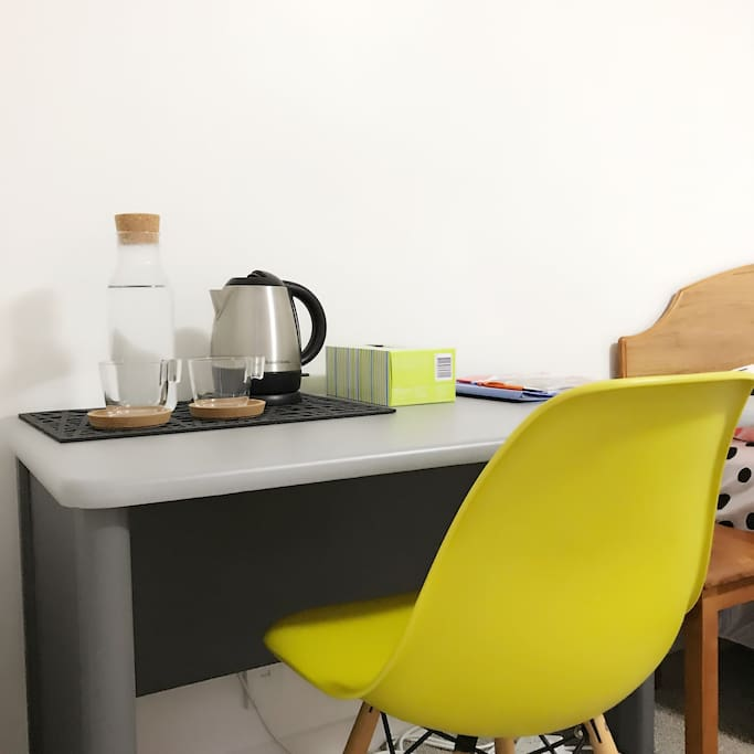 Writing desk, kettle and drinking glasses provided. Unlimited and fast wifi is available.