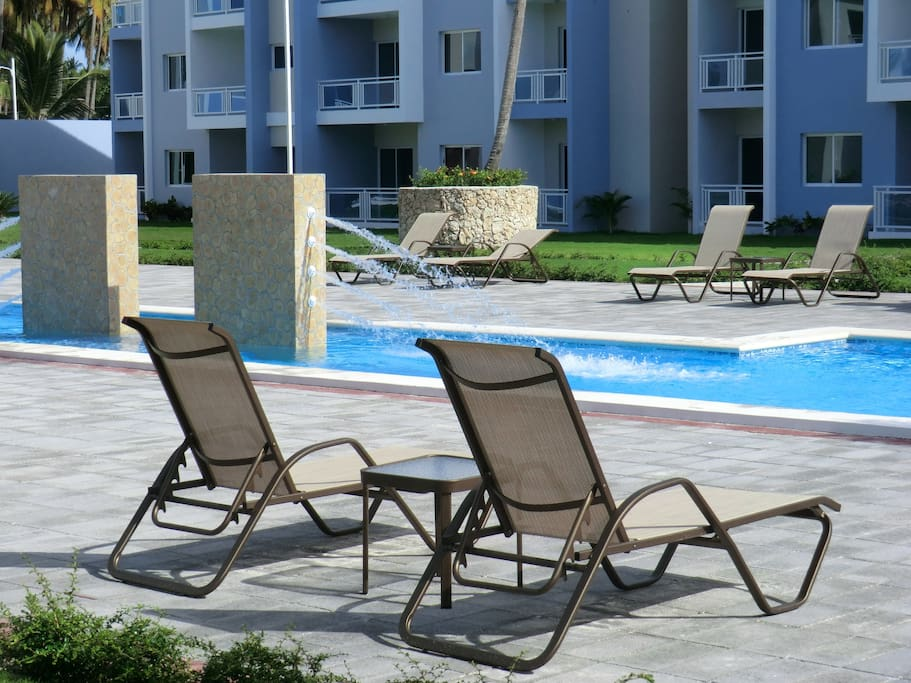 Lounge chairs provided here at the pool