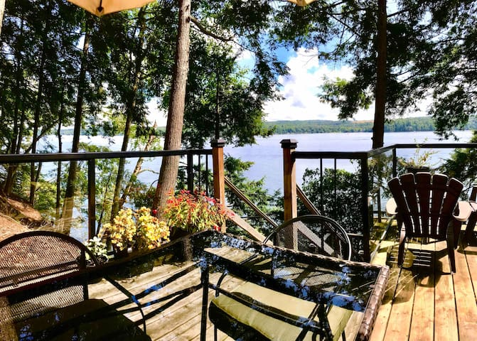 Complete privacy on this side deck. Enjoy the view across and up the lake towards North Hatley.