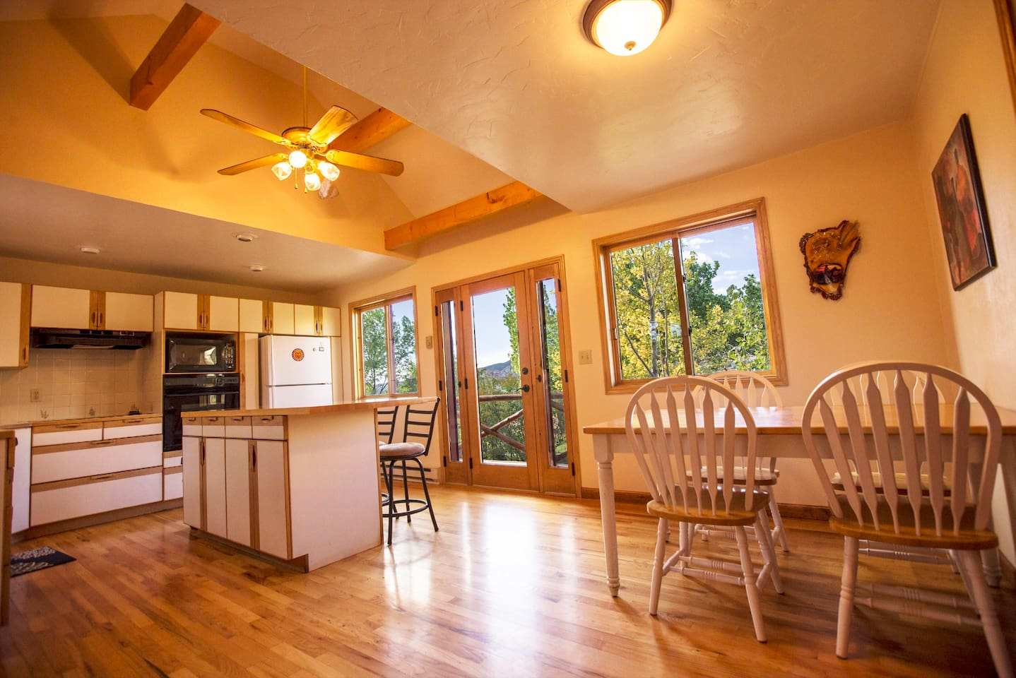 Large sunny kitchen.  Overlooking Boulder Mountain