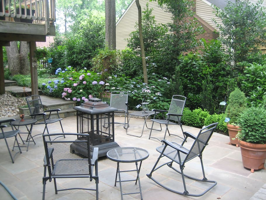 The patio just outside the private entrance