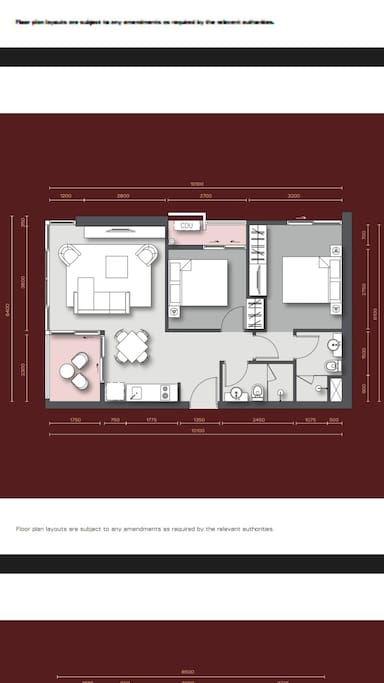 Layout of the unit 2 bedroom