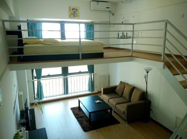 房山长阳浪漫loft上下复试简约带电梯地铁零距离大床一米八情侣套房整套出租 - Pequim - Apartamento