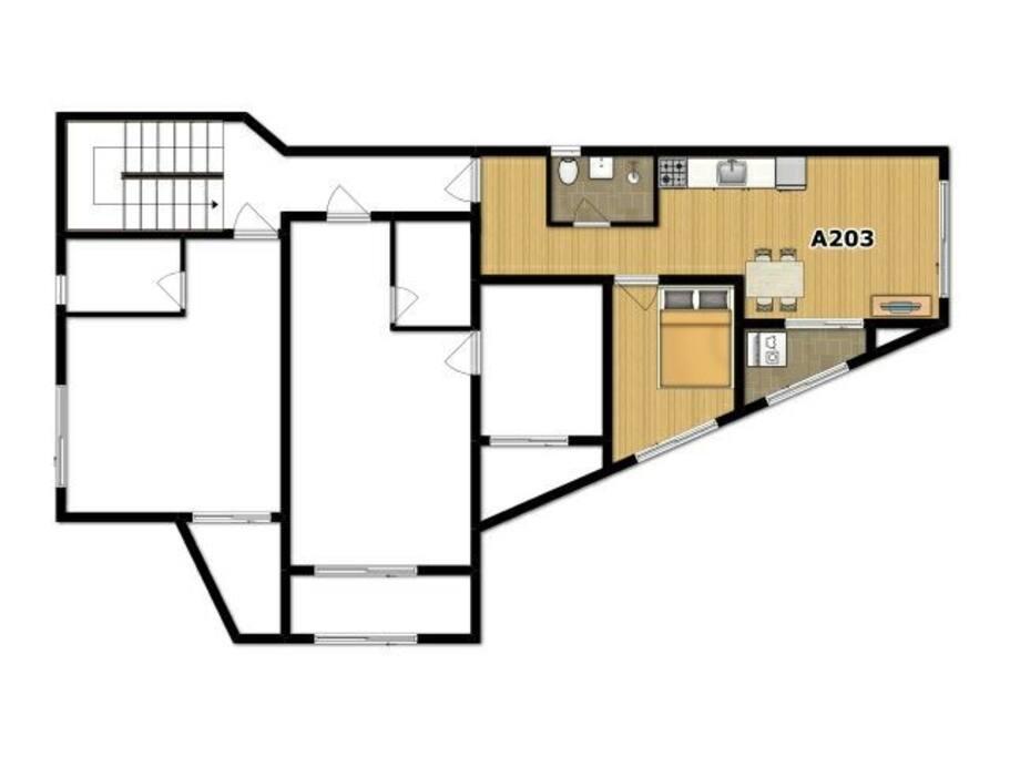 침실(퀸사이즈침대,행거,2인 침구)+주방+거실+욕실+세탁기+TV
