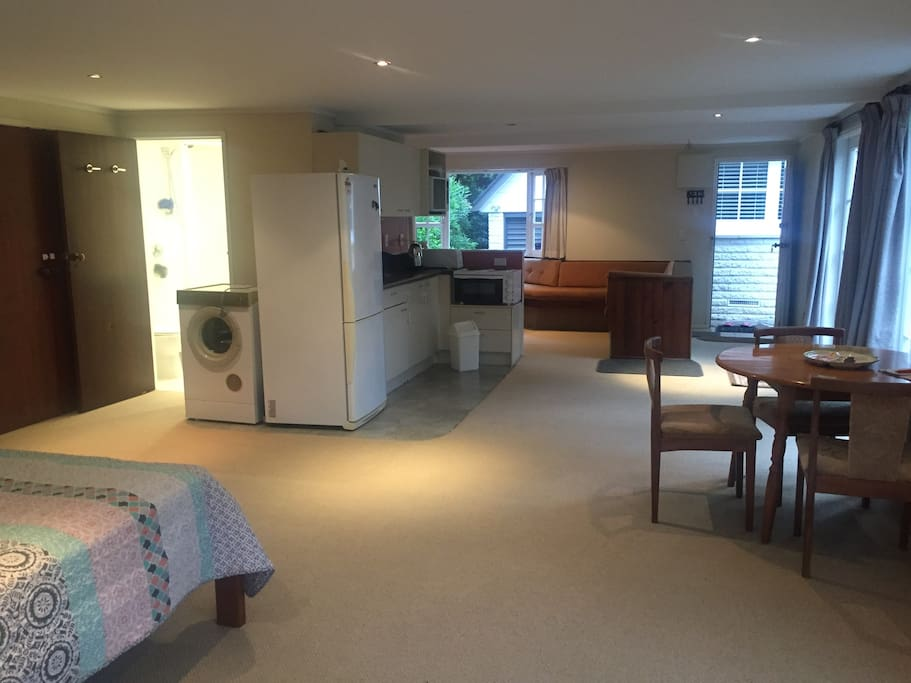 Fully self contained, with bathroom, kitchenette and lounge space