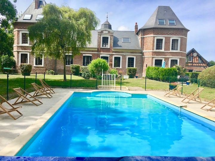 Chateau with Heated Pool and Gardens near Beach