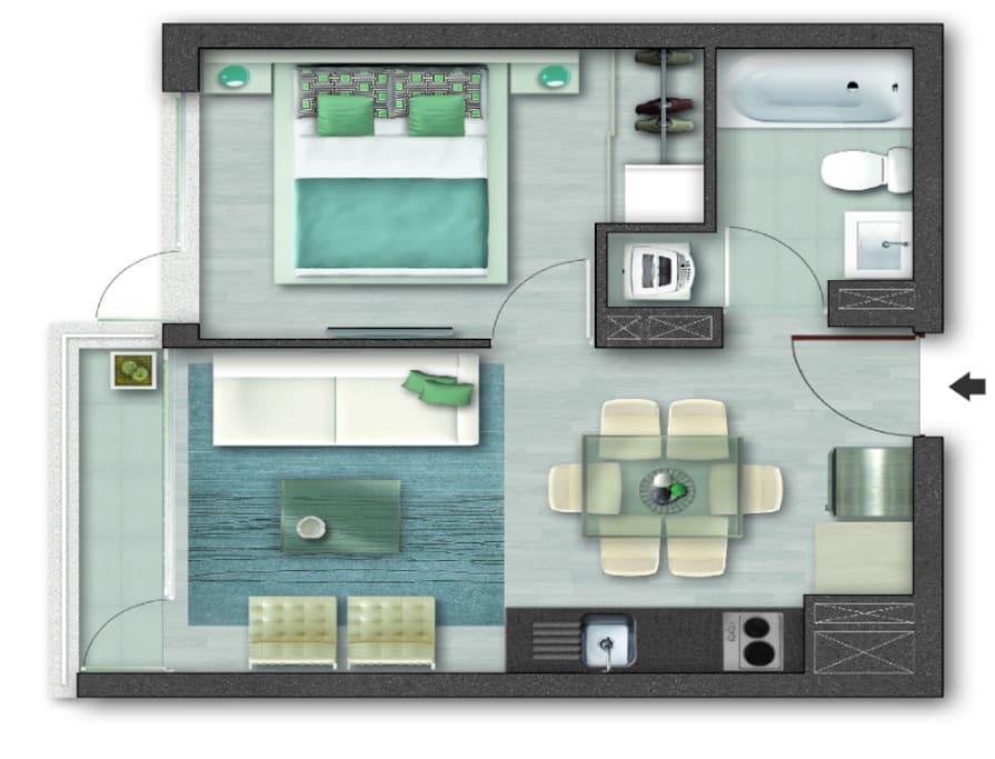 Depto de 1 Dormitorio + 1 Baño