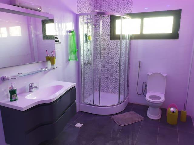 salle bain : cabine douche, Jacuzzi