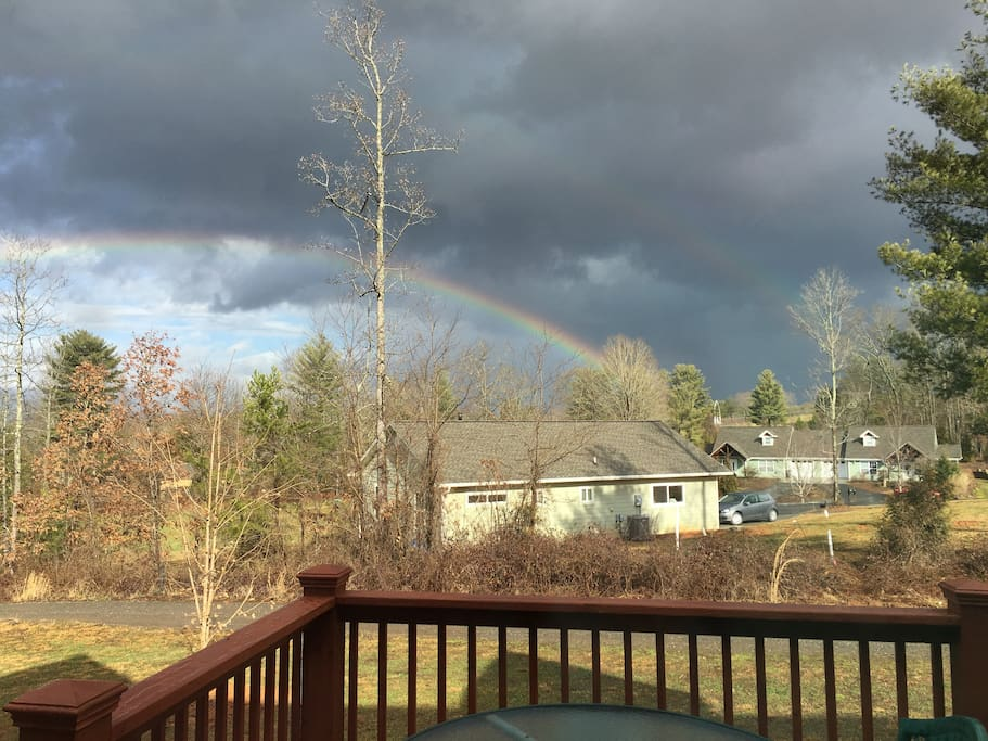 Clouds and rainbow view from back patio!